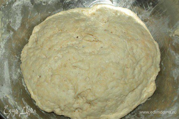 Замешиваем тесто. Тесто должно получиться гладким, не липнуть к рукам. Оставить тесто в чашке, накрытой полотенцем, на 1 час. Тесто увеличится в объемах.
