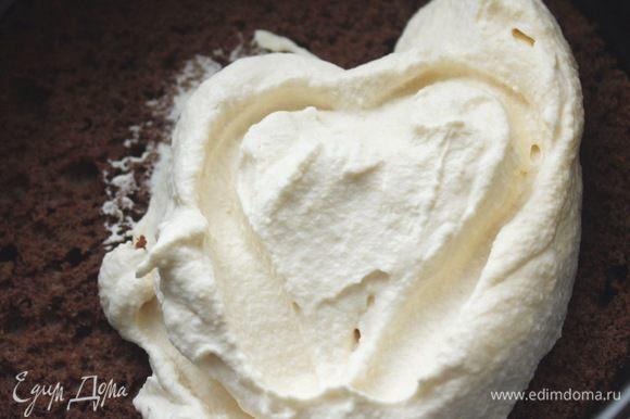 Сборка торта: на нижний корж выложить крем.
