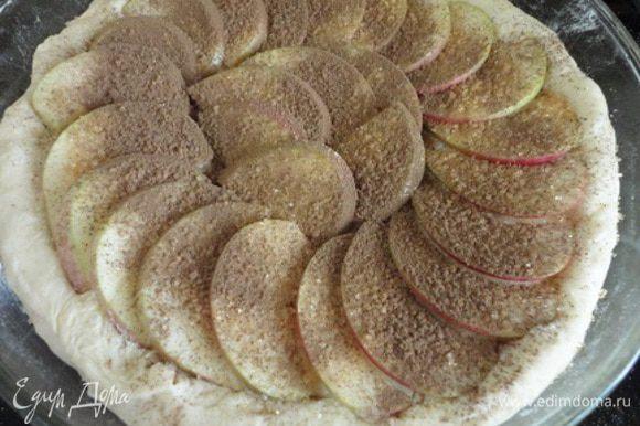 Для пирога яблоко очищаю от семян, нарезаю дольками. Форму смазываю растительным маслом. Тесто раскатать в круг, посыпать крахмалом, чтобы тесто не «мокрело» от свежих яблок, которые выкладываем чешуйкой, посыпаем корицей и коричневым сахаром.