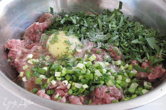 В фарш добавить специи, яйцо, нашинкованную зелень. Вымесить фарш до однородной массы.