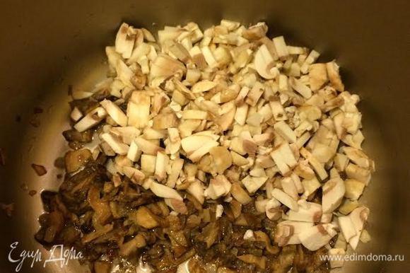Затем добавить шампиньоны, соль, перец, накрыть крышкой и тушить еще 5 — 10 минут.