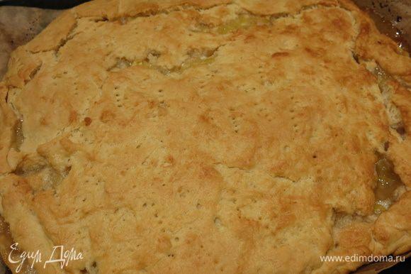 Закрываем пирог половиной теста, прокалываем вилкой и ставим при 180°С на 40 — 45 минут в духовку.