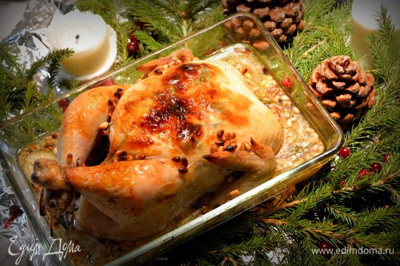 Подавать к столу с соусом, в котором пеклась курица. Приятного аппетита!