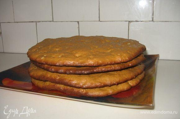 Выпекаем коржи в духовке, предварительно разогретой до 180°С, около 7 — 10 минут. Время выпекания зависит еще и от толщины вашего коржа. Кстати, тесто во время выпекания поднимается более чем вдвое, так что из довольно тонких сырых коржей получаются пышные и мягкие заготовки для торта.