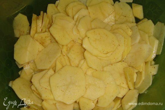 Картофель почистить и нарезать тонкими кружочками. Посолить, поперчить, посыпать приправой для картофеля и перемешать. Лук нарезать полукольцами, чеснок мелко порубить и перемешать.