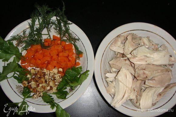Отварить морковь и нарезать небольшими кубиками. Грецкие орехи обжарить и порубить ножом. Чеснок мелко нарезать или пропустить через пресс. Зелень помыть, обсушить бумажным полотенцем и порвать руками. Мясо курицы отделить от костей и разобрать на небольшие кусочки.