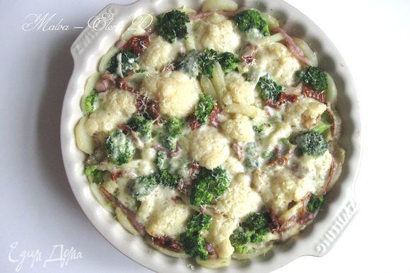 Духовку разогреть до 200°С. Поставить форму с овощами в духовку на 25 — 30 минут. Подавать сразу после приготовления.