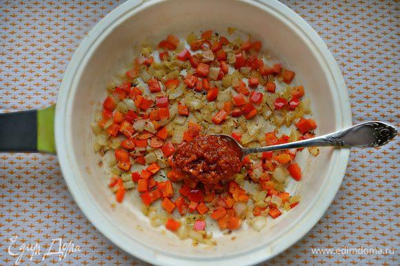 Посолите, приправьте перцем, щепоткой сухой мятой и базиликом, добавьте 1 ст. л. томатного соуса или 0,5 ст. л. пасты. Я использую томатную приправу собственного приготовления, кому интересно, можете заглянуть сюда https://www.edimdoma.ru/retsepty/57836-priprava-iz-ovoschey-nezamenimaya-i-vkusnaya-zagotovka-na-zimu