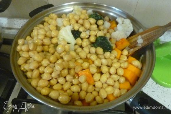Добавить нут, цветную капусту, шпинат, пасту карри и налить немного кипятка. Готовить под крышкой, время от времени перемешивая, до готовности овощей.