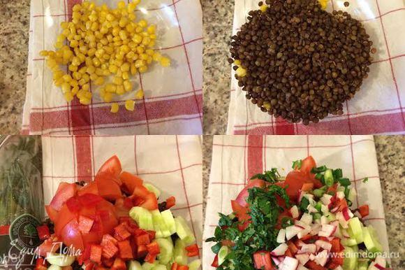 Чечевицу отварить в подсоленной воде до готовности. Помидор, огурец, редиску, лук, кинзу мелко нарезать. В миске смешать кукурузу, чечевицу, овощи и зелень.