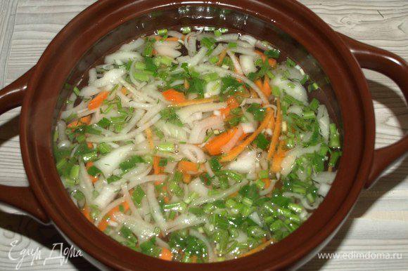 Соединить бульон и овощи. Варить до готовности картофеля.