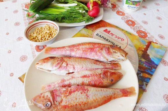 Подготовить рыбу. Почистить, выпотрошить, помыть и обсушить.