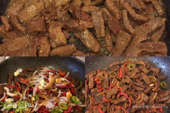 Разогреть сковороду (вок) добавить масло, обжарить мясо на сильном огне до румяной корочки. Затем добавить овощи, соевый соус, перемешать, тушить 3-4 минутки и снять с огня.