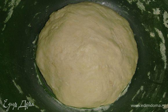 Миску с тестом накрыть пищевой пленкой и поставить в тепло на 1 час.