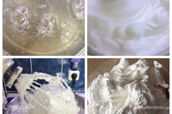 Как приготовить крем я писала в своем рецепте вот тут https://www.edimdoma.ru/retsepty/97323-pirozhnye-trubochki-s-halvoy. Технология идентична, только количество ингредиентов я увеличила, т.к. еще украшала рулет белковым кремом. Т.е. я разделила готовый белковый крем на 2 части. Одна часть была объединена с кремом из халвы. Вторая часть белкового крема пошла на украшение.
