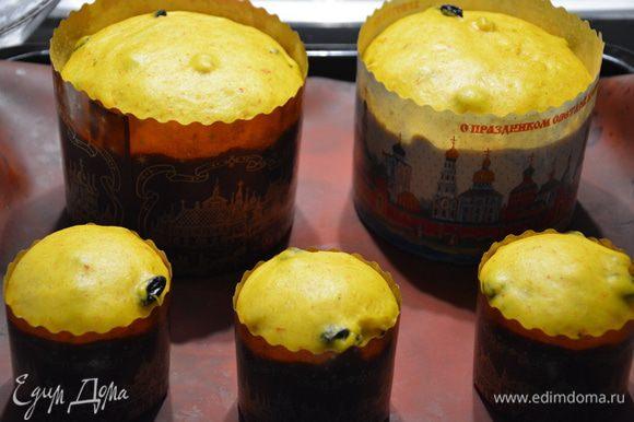 Дать подняться, затем обмазать яичным желтком (я не мазала) и поставить в печь на небольшой огонь на 45 минут.