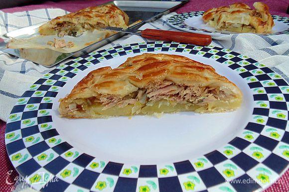 Мы увезли пирог на пикник! Вкусен как в горячем, так и в теплом виде. Приятного аппетита!