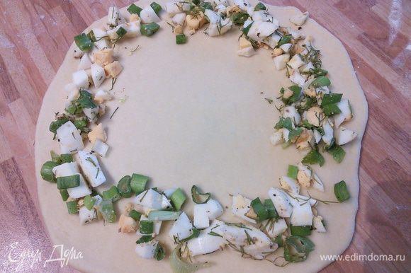 Раскатать тесто круглой формы, выложить по краям начинку.