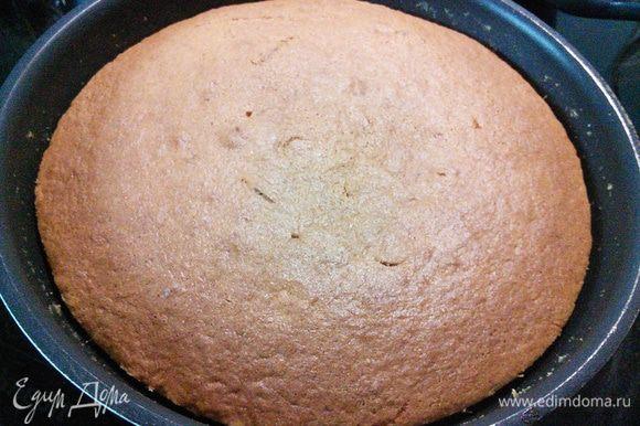 Выпекать 30-40 мин. Зависит от вашей духовки, тест на сухую палочку подскажет о готовности. Пирог оставить в сковороде некоторое время, так сироп максимально впитается.