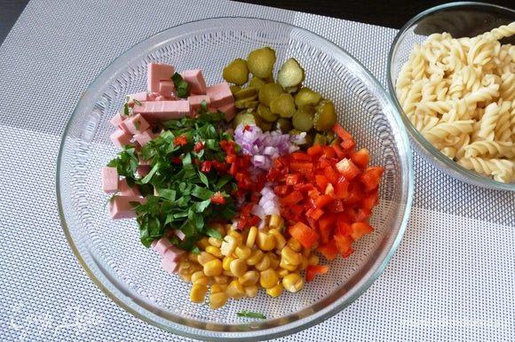 Зелень и перец чили мелко рубим и добавляем в салатник. Не любите острое, уберите зернышки или замените острый чили на черный свежемолотый перец.