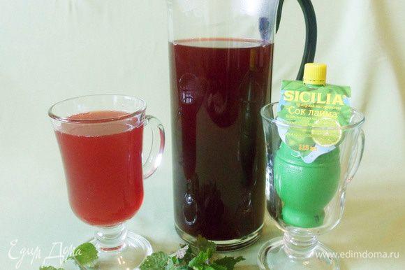 Вишневый лимонад с соком лайма и мяты готов. Очень вкусный освещающий напиток! В жару, если она все-таки наступит, можно добавить лед. Приятного аппетита!