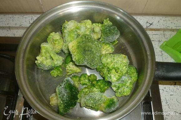 Выложить брокколи в сотейник, влить немного воды, готовить под крышкой до мягкости. Главное не переготовить, чтобы брокколи не потеряла цвет.