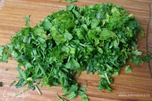 От себя я нарезала кресс-салат. В оригинале его не было.