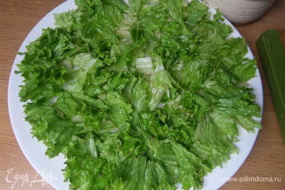На большую плоскую тарелку нарезать или порвать салатные листья.