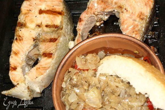 Рыба на гриле с луковым острым маринадом — очень вкусно. Получается освежающее и вкусное блюдо. В жаркий день прекрасный обед или ужин.