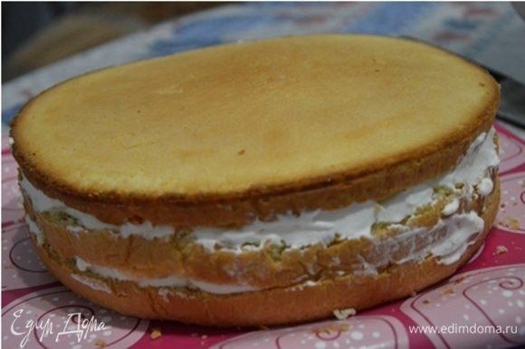 Собираем торт, промазывая коржи взбитыми сливками.