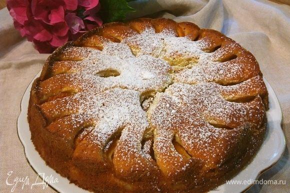 Пирог остудить, по желанию посыпать сахарной пудрой.