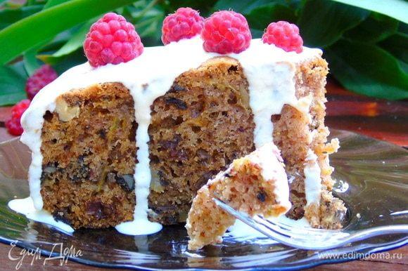 Для глазури взбейте сметану с сахарной пудрой и цедрой апельсина или лимона на ваш вкус. Полейте пирог и ставьте чай. Приятного аппетита!!!
