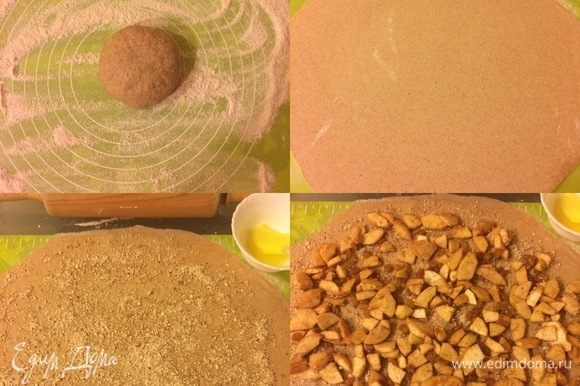 Тесто раскатать тонким слоем, смазать 1 ст. л. растопленного сливочного масла. Затем посыпать миндалем, выложить начинку и разровнять.