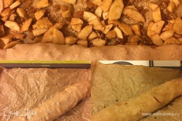 Свернуть тесто в рулет, смазать его 2 ст. л. растопленного сливочного масла и выпекать до готовности 45 минут.