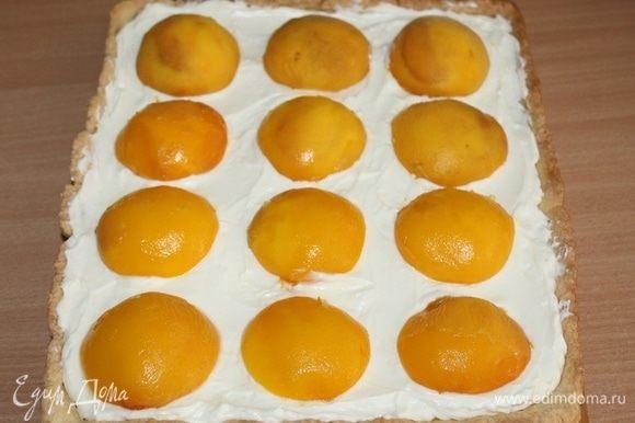 Выложить на крем половинки персиков. Приготовить желе как указано на упаковке. Покрыть им персики.