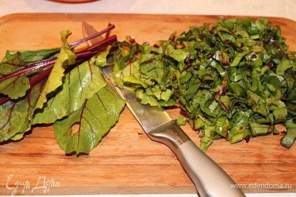 Свекольные листья нарежьте поперек ленточками. Листьев должно быть много, не переживайте, если вам покажется, что зелени больше, чем сыра. Потом вы увидите, что их можно было положить и больше. Некоторые хозяйки добавляют и другую зелень, укроп, зеленый лук, реган, я люблю только с листьями свеклы, мне такая начинка больше по душе.