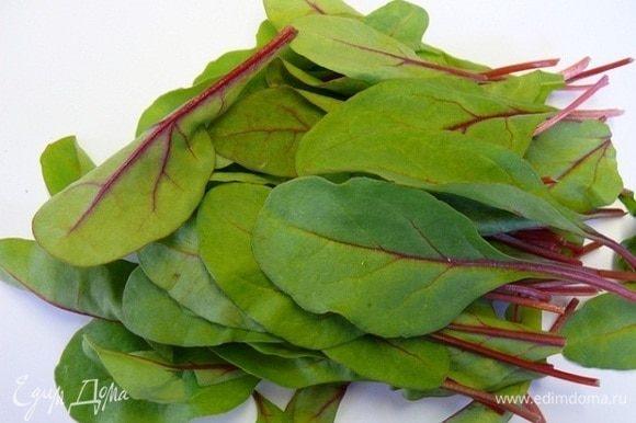 Листья мангольда хорошенько промыть под проточной водой и просушить. Выложить в плоское блюдо.