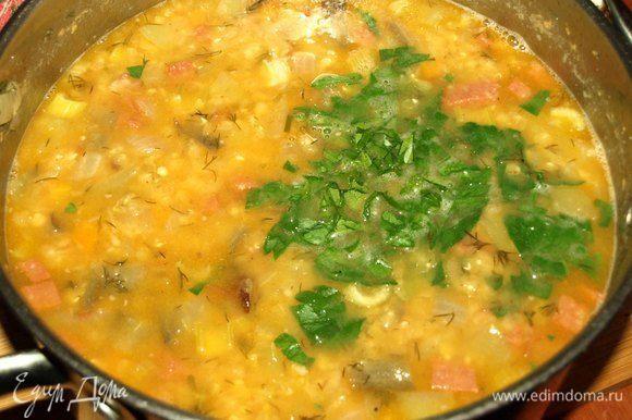 Готовый суп снять с огня, добавить зелень петрушки. Закрыть крышкой и дать настояться 10 минут.