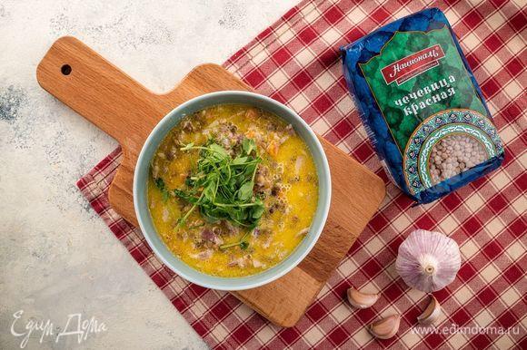 После достаньте чеснок и подавайте суп теплым к столу. Приятного аппетита!