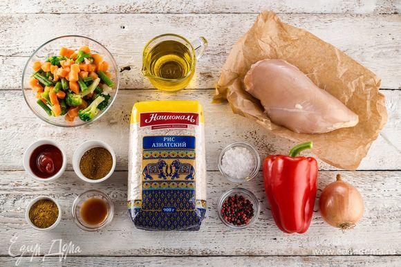 Ингредиенты, которые нам понадобятся для приготовления курицы.
