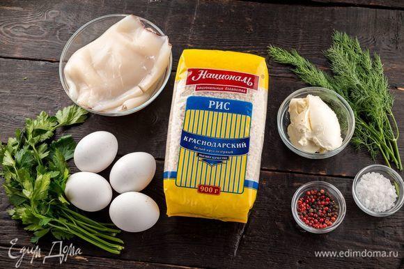 Для приготовления аппетитных кальмаров нам понадобятся следующие ингредиенты.