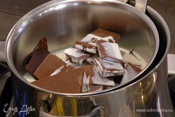 В отдельной кастрюле растопить на водяной бане весь шоколад, 200 мл сливок и глюкозу.