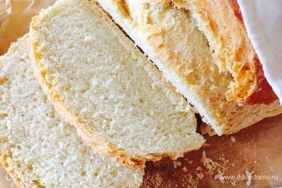 У этого хлеба чудесная хрустящая корочка!!!! Очень вкусно слегка нагреть кусочек хлеба и полить его оливковым маслом — мммммм фантастика!!!!Приятного аппетита!!!!