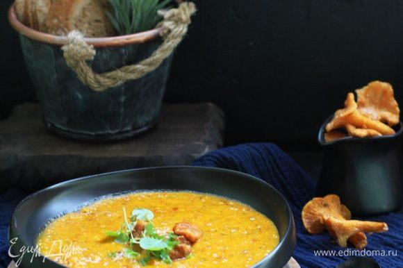 Вылить суп в подготовленные тарелки с лисичками, посыпать зеленым луком или кинзой и подавать.