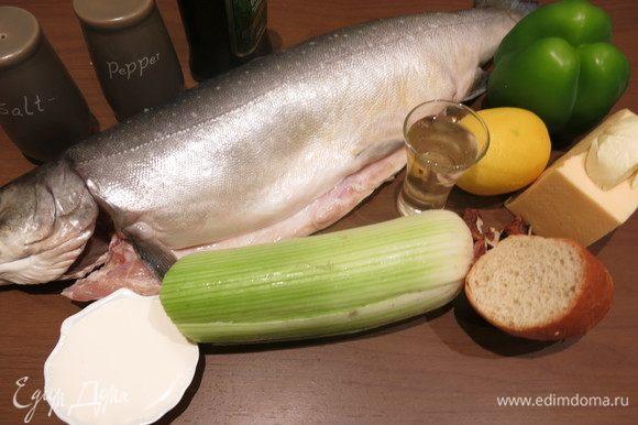 Подготовим продукты. Рыба — голец, вес 1200 г с головой, хвостом и жабрами, внутренности выпотрошены.