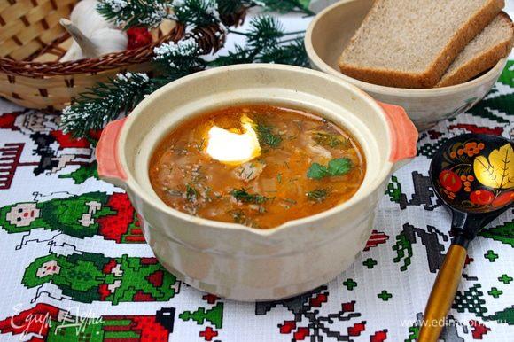 Перед подачей добавить в тарелки со щами сметану и рубленую зелень.