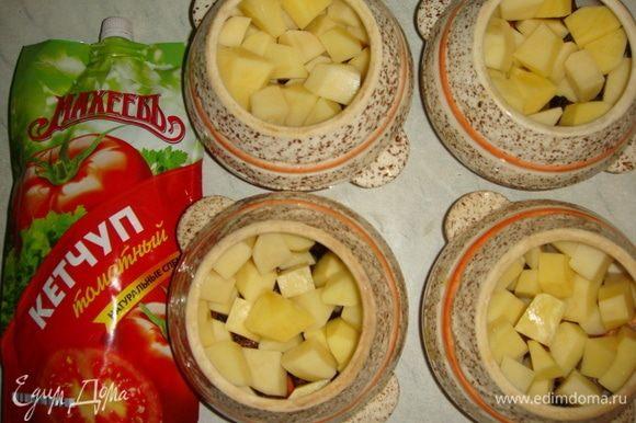 Картофель почистить и нарезать небольшими кубиками.