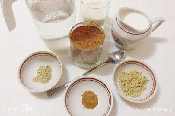 Для приготовления какао-заготовки я добавляю в какао-порошок сахарный песок, молотый имбирь, молотый кардамон, молотую корицу и щепотку соли. Вы можете добавить другие специи, которые любите: свежемолотый черный перец, молотые гвоздику, бадьян и другие.
