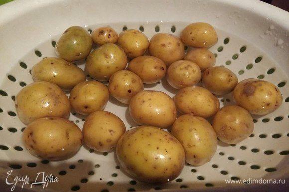 Хорошо вымыть молодой картофель и отварить до мягкости в отдельной кастрюле.
