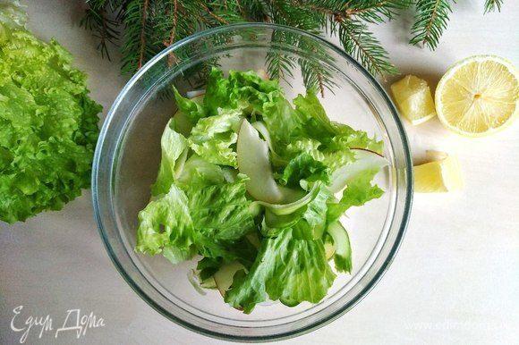 Затем рвем листья салата.
